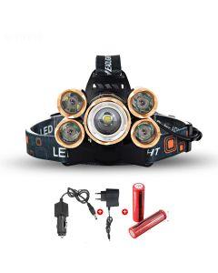 Led Headlight 5000 Lumens High Power LED Headlight Boruit 5xCREE XM-L 4 Mode Headlamp-Complete Set