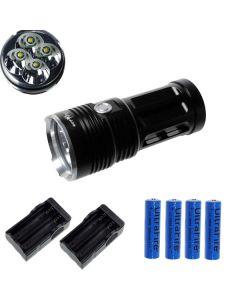 EternalFire King 4T6 4*Cree XM-L T6 LED Torch 4000 Lumens 3 Modes LED Flashlight-Black-Complete Set