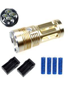 EternalFire King 4T6 4*Cree XM-L T6 LED Torch 4000 Lumens 3 Modes LED Flashlight-Glod-Complete Set