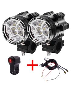 LED Motorcycle Spotlight Universal 12V 9led beads 90W Waterproof Fog Spot Motos Bulb Motorbike Headlight auxiliary lamp