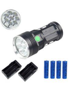 EternalFire King 8T6 8*Cree XM-L T6 LED Torch 8000 Lumens 3 Modes LED Flashlight-Black-Complete Set