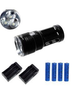 EternalFire King 3T6 3*Cree XM-L T6 LED Torch 3000 Lumens 3 Modes LED Flashlight-Black-Complete Set
