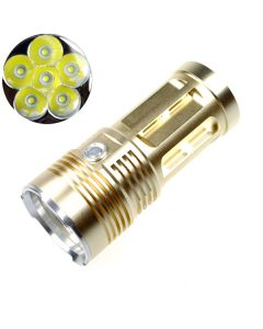 EternalFire King 6T6 6*Cree XM-L T6 LED Torch 6000 Lumens 3 Modes LED Flashlight-Glod-Light Unit Only