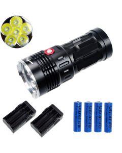 EternalFire King 6T6 6*Cree XM-L T6 LED Torch 6000 Lumens 3 Modes LED Flashlight-Black-Complete Set