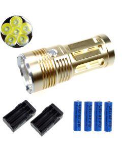 EternalFire King 6T6 6*Cree XM-L T6 LED Torch 6000 Lumens 3 Modes LED Flashlight-Glod-Complete Set