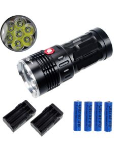 EternalFire King 7T6 7*Cree XM-L T6 LED Torch 7000 Lumens 3 Modes LED Flashlight-Black-Complete Set