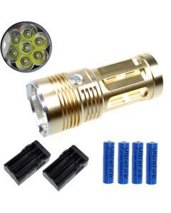 EternalFire King 7T6 7*Cree XM-L T6 LED Torch 7000 Lumens 3 Modes LED Flashlight-Glod-Complete Set