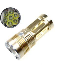 SKY RAY KING 7T6 7xCree XM-L T6 9000 Lumens 3-Mode LED Flashlight/Torch [Golden Color]